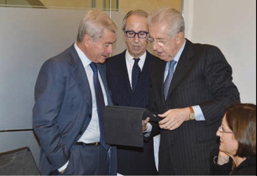 Da sinistra Carlo Sangalli - Bruno Ermolli - Mario Monti