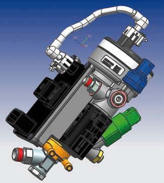 Modello 3D di un riduttore elettronico di pressione realizzato grazie alla progettazione parametrica di NX